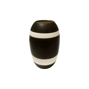 TALL CURVED CERAMIC VASE WITH HIGH CONTRAST DOUBLE STRIPE GLAZE - Flair Home Collection