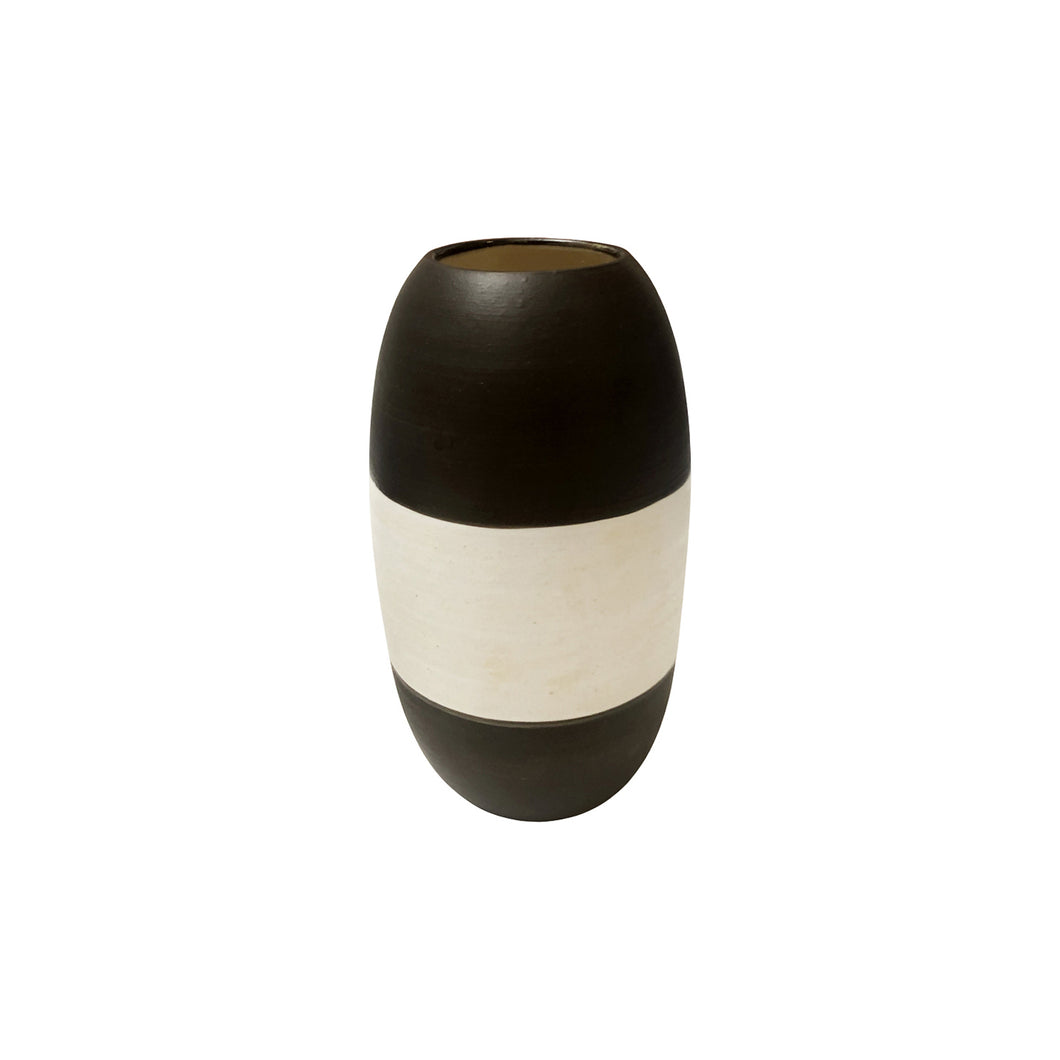 MEDIUM CURVED CERAMIC VASE WITH HIGH CONTRAST STRIPE GLAZE - Flair Home Collection
