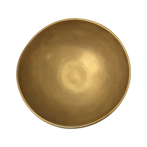 LARGE ASYMMETRICAL CERAMIC BOWL WITH 22K BURNISHED GOLD LUSTER GLAZE - Flair Home Collection