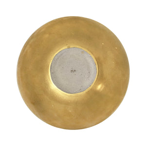 LARGE ASYMMETRICAL CERAMIC BOWL WITH 22K BURNISHED GOLD LUSTRE GLAZE - Flair Home Collection