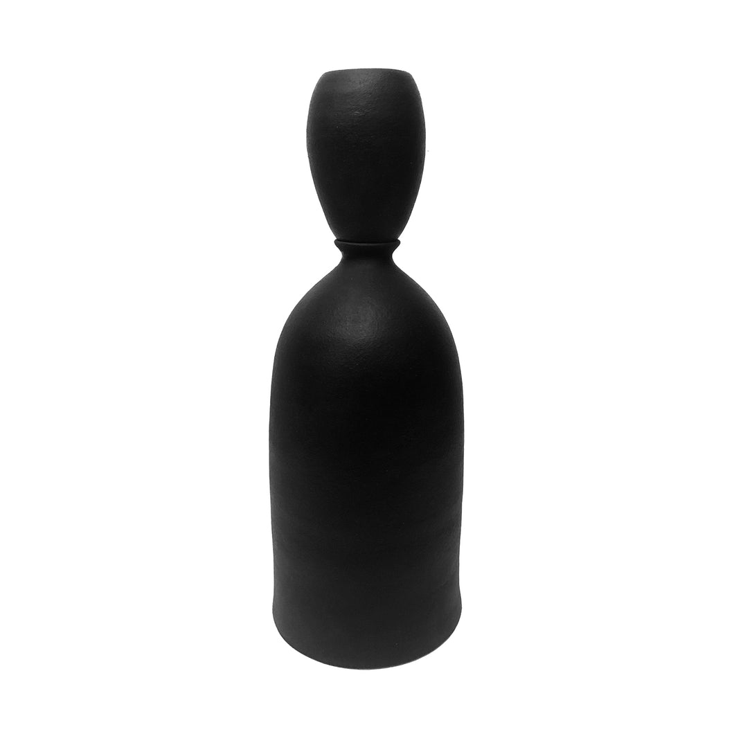 MATTE BLACK CERAMIC BOTTLE VASE WITH STOPPER #1 - Flair Home Collection