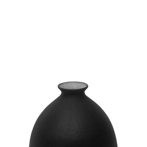 CERAMIC BOTTLE VASE WITH MATTE BLACK GLAZE AND STOPPER #1 - Flair Home Collection