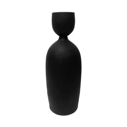 MATTE BLACK CERAMIC BOTTLE VASE WITH STOPPER #2 - Flair Home Collection