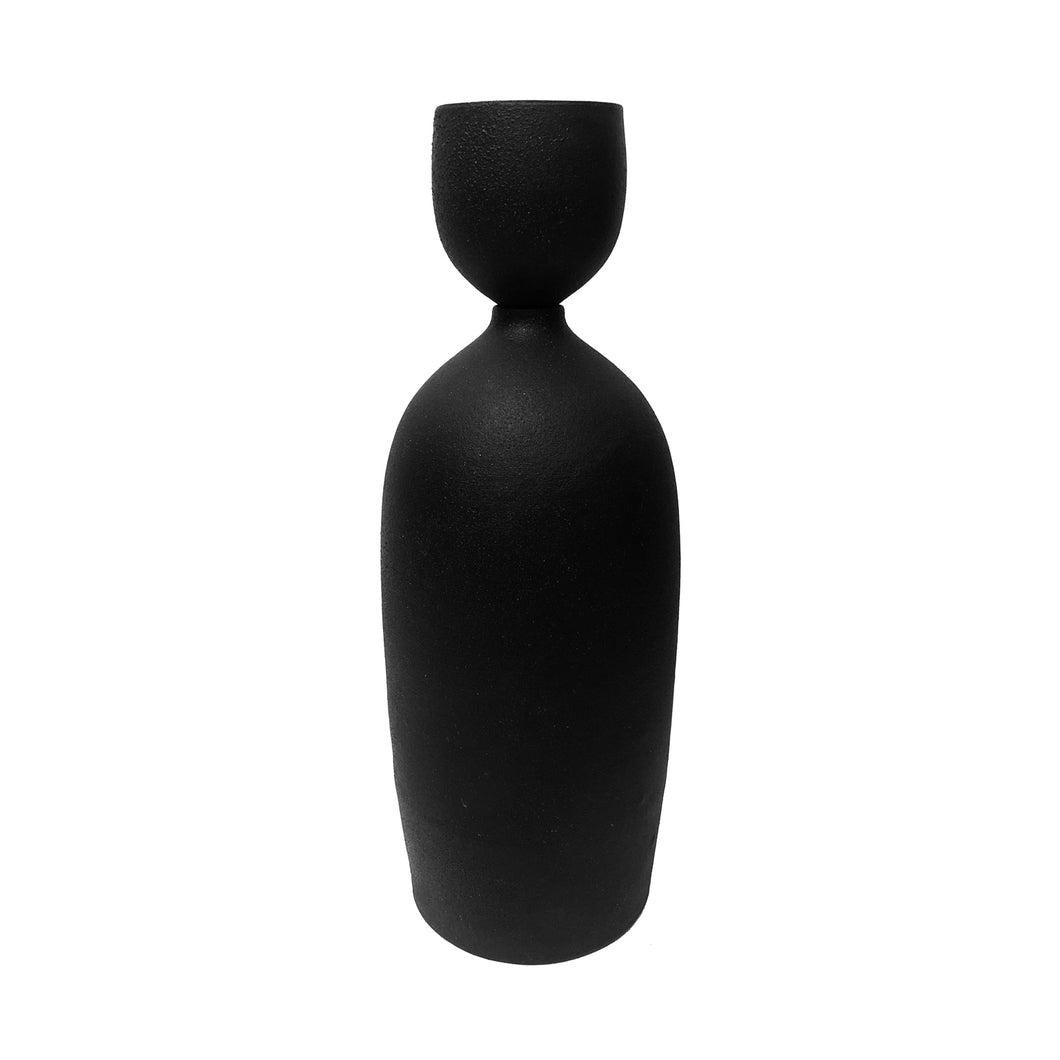 CERAMIC BOTTLE VASE WITH MATTE BLACK GLAZE AND STOPPER #2 - Flair Home Collection