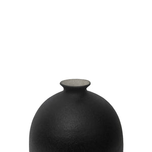 CERAMIC BOTTLE VASE WITH MATTE BLACK GLAZE AND STOPPER #4 - Flair Home Collection