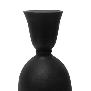 CERAMIC BOTTLE VASE WITH MATTE BLACK GLAZE STOPPER #5 - Flair Home Collection