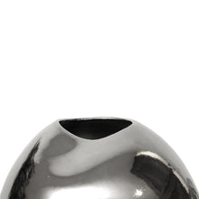 Load image into Gallery viewer, LARGE TRIPLE DENT PLATINUM LUSTER CERAMIC VASE - Flair Home Collection