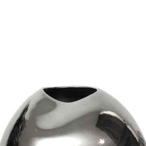 LARGE TRIPLE DENT PLATINUM LUSTER CERAMIC VASE - Flair Home Collection