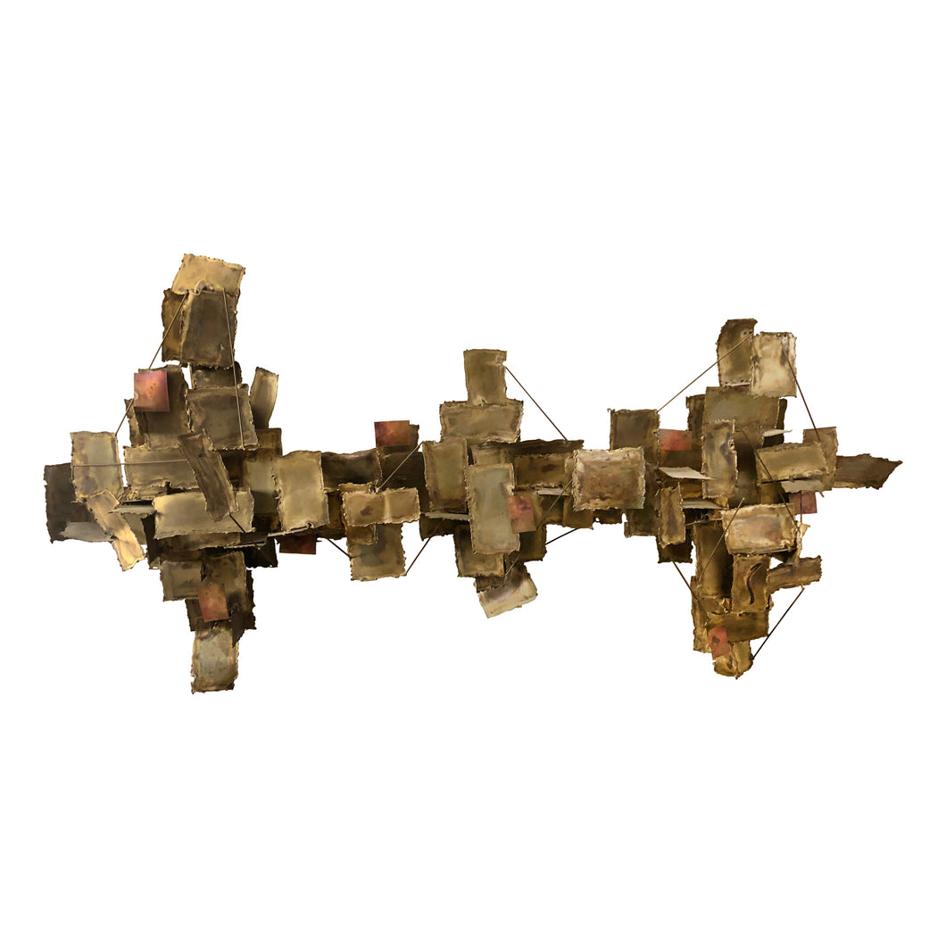 ABSTRACT MIXED METAL WALL SCULPTURE