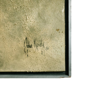LARGE MIXED MEDIA ABSTRACT IN COOL EARTH TONES AND GOLD BY JOHN KIRALY - Flair Home Collection