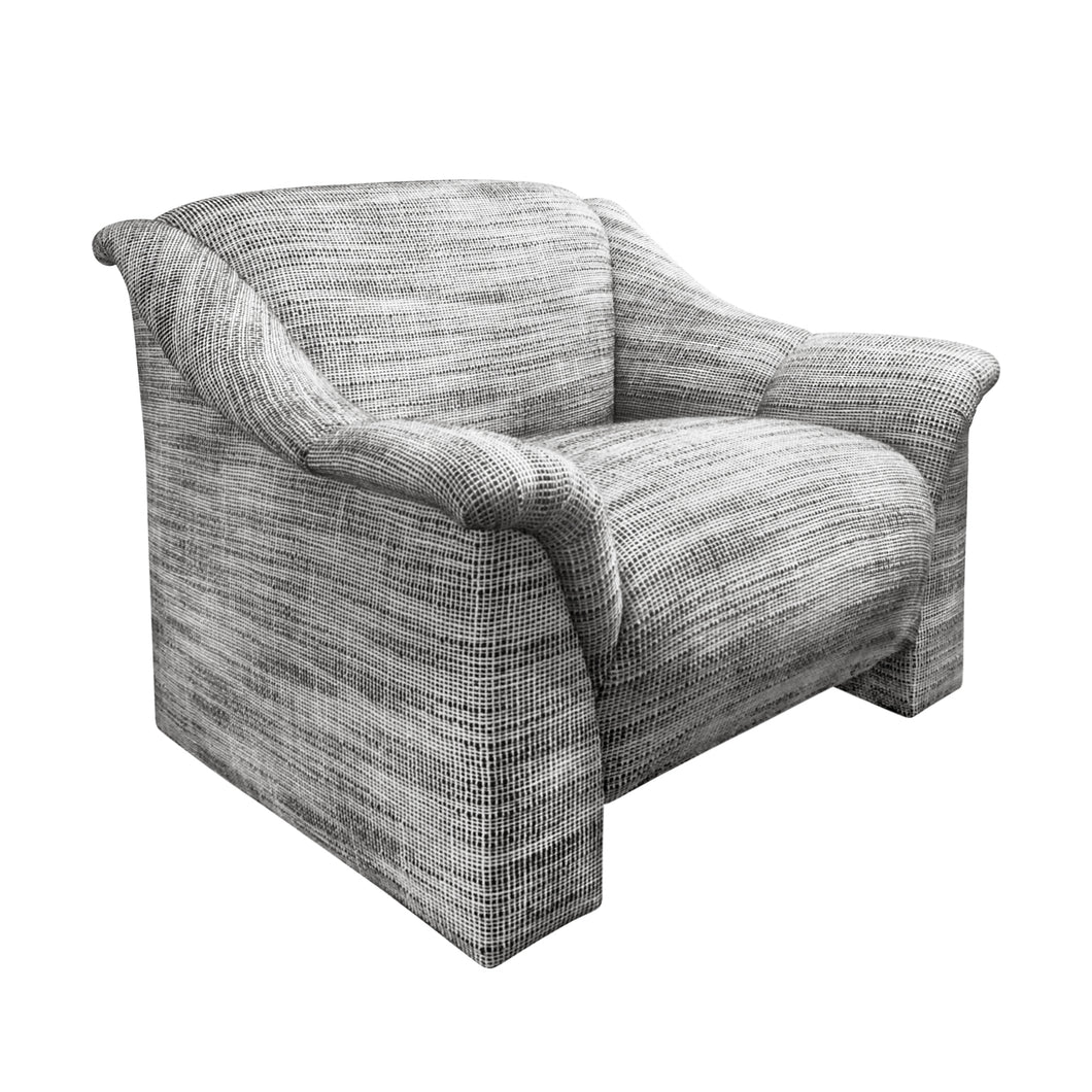 MODERNIST LOUNGE CHAIR IN BLACK AND WHITE WOOL BASKETWEAVE UPHOLSTERY - Flair Home Collection