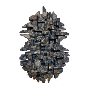 """COMPOSITION 8.4"" WALL SCULPTURE IN BLACK GOLD FINISH - Flair Home Collection"
