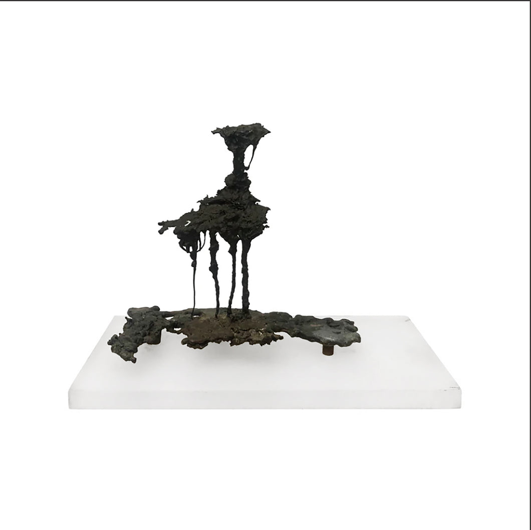 ABSTRACT SPILLCAST SCULPTURE ON ACRYLIC BASE - Flair Home Collection