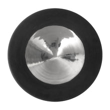 Load image into Gallery viewer, TALL PLATINUM LUSTER CERAMIC PEDESTAL BOWL WITH WIDE BLACK GLAZE RIM - Flair Home Collection