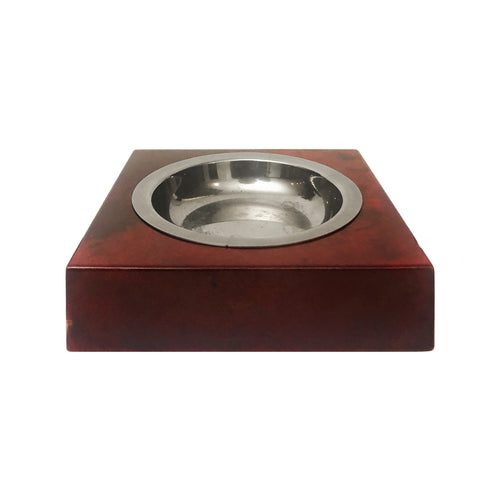 ALDO TURA RED LACQUERED GOATSKIN AND NICKEL ASHTRAY - Flair Home Collection