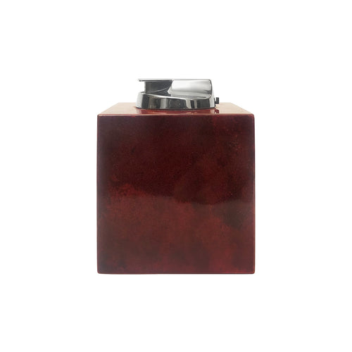 ALDO TURA RED LACQUERED GOATSKIN AND NICKEL LIGHTER - Flair Home Collection