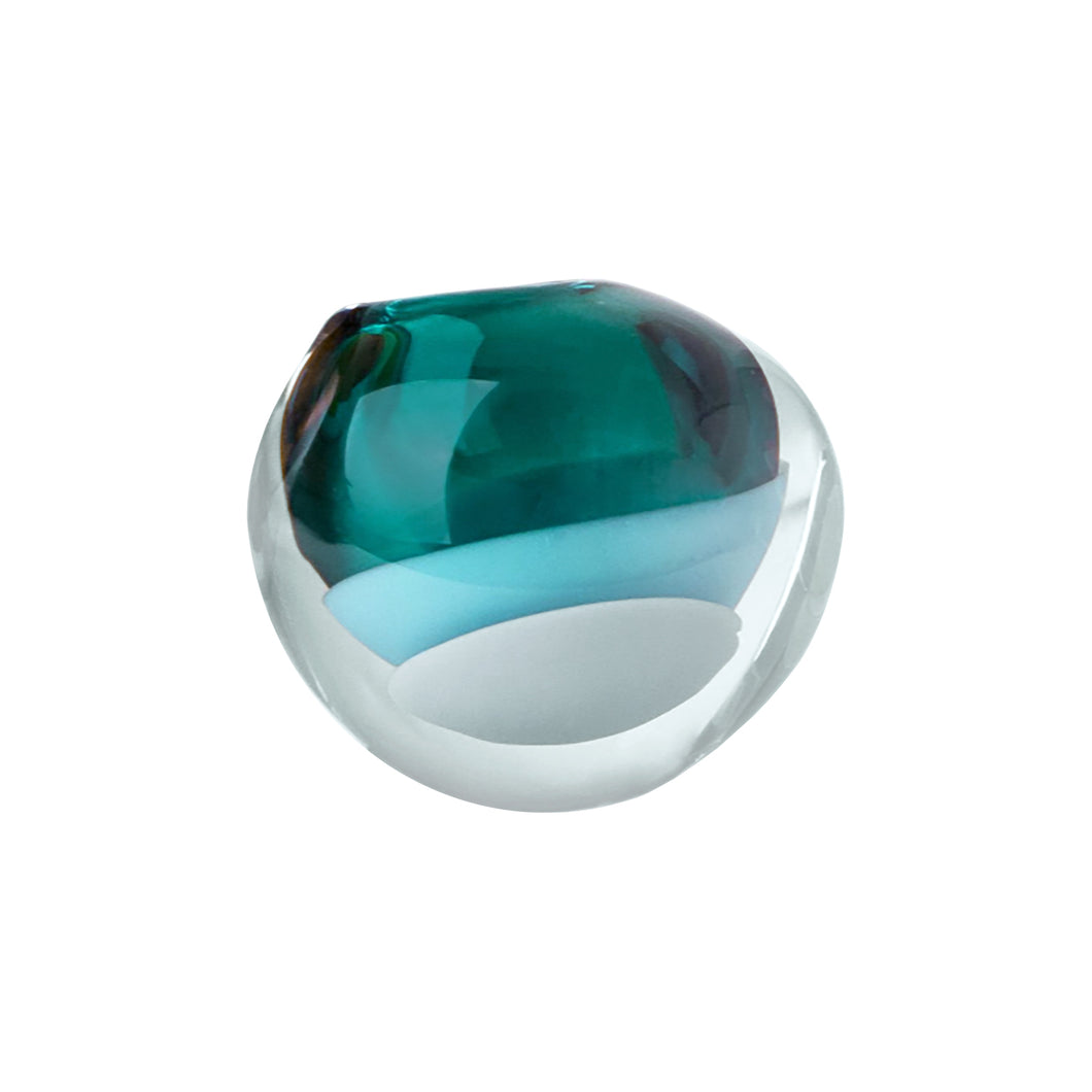 SMALL GLASS MANTEL VESSEL IN LAGOON - Flair Home Collection