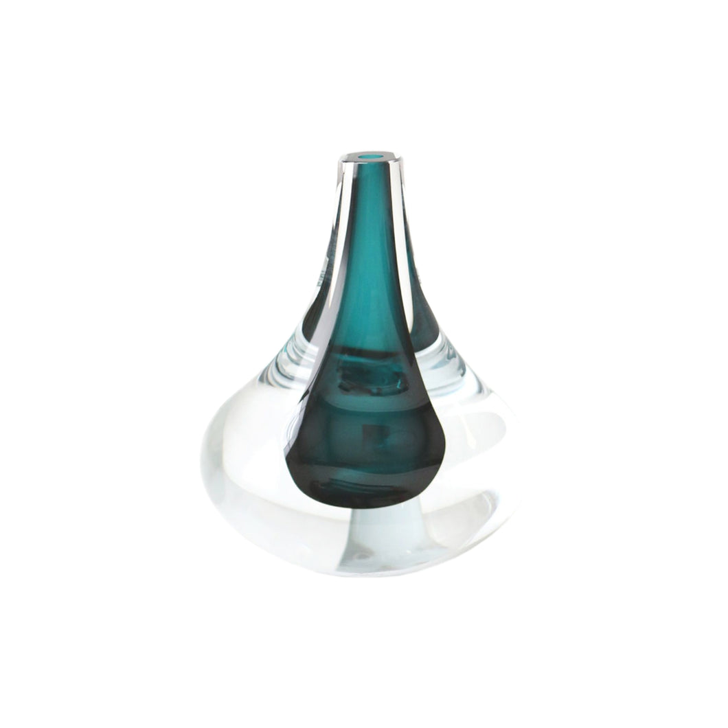 HAND BLOWN ROUNDED GLASS DROPLET OBJET IN LAGOON - Flair Home Collection