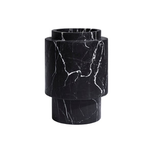 LARGE CALVIN VASE IN NERO MARBLE - Flair Home Collection