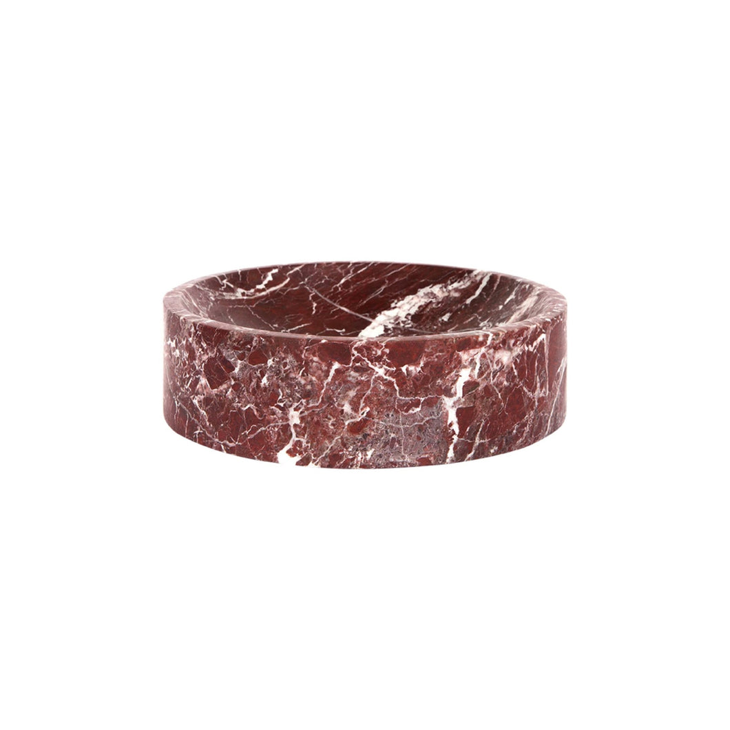 PLINTH BOWL IN MERLOT MARBLE - Flair Home Collection