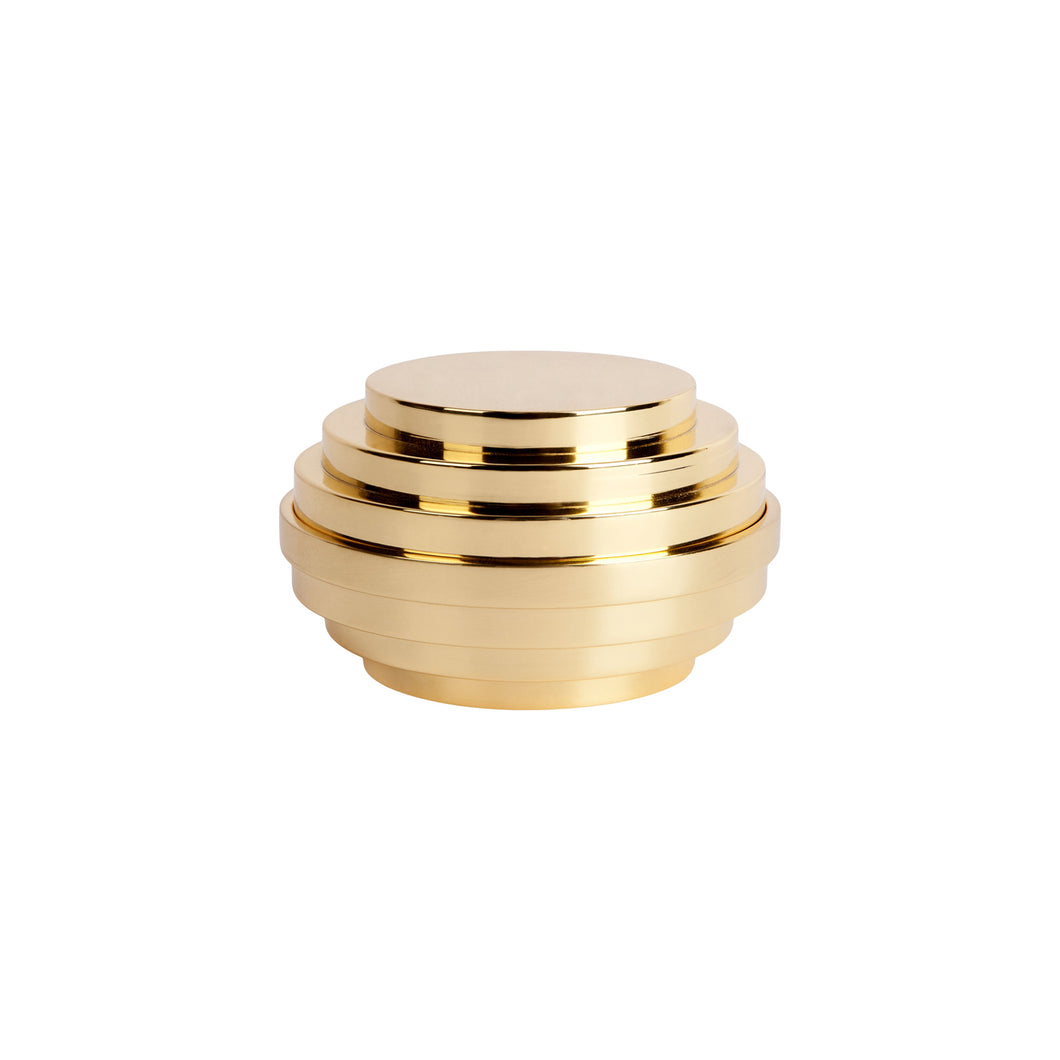 ZIGGURAT BOX IN SEALED BRASS - Flair Home Collection