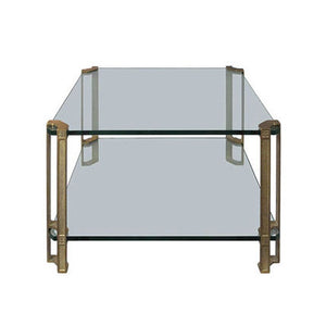 TWO-TIER BRASS AND GLASS SIDE TABLE BY PETER GHYCZY - Flair Home Collection