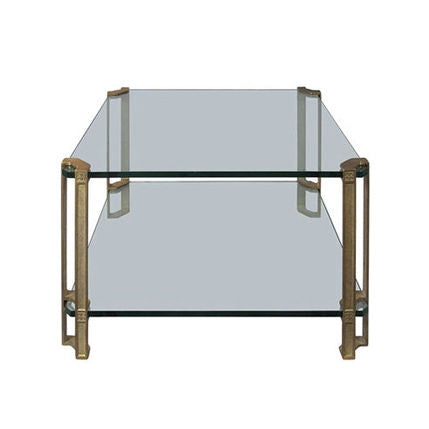 TWO TIER BRASS AND GLASS SIDE TABLE BY PETER GHYCZY - Flair Home Collection