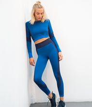 Load image into Gallery viewer, SEAMLESS LONG SLEEVE CROP TOP - bright blue/navy