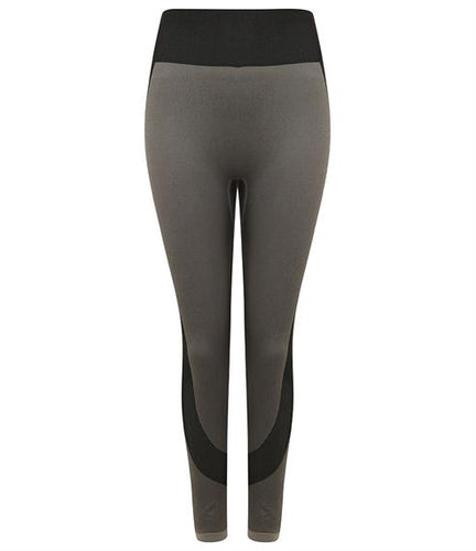 SEAMLESS PANELLED LEGGINGS - light grey/black