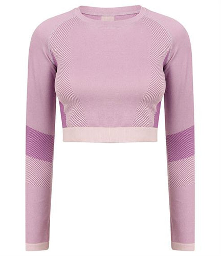 SEAMLESS LONG SLEEVE CROP TOP - light pink/purple