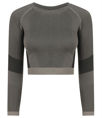 SEAMLESS LONG SLEEVE CROP TOP - light grey/black