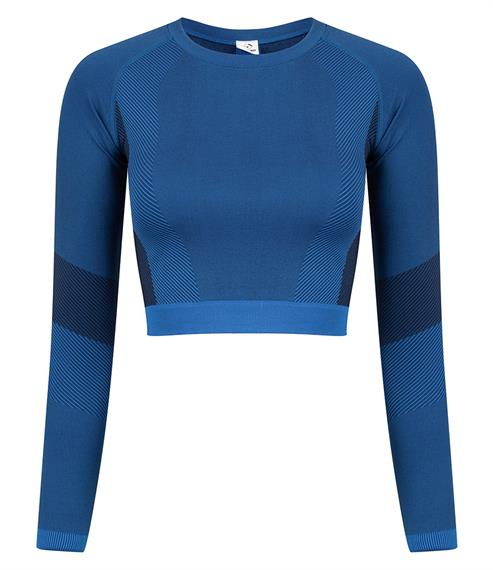 SEAMLESS LONG SLEEVE CROP TOP - bright blue/navy