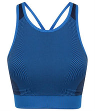 Load image into Gallery viewer, SEAMLESS PANELLED CROP TOP/SPORTS BRA - bright blue/navy