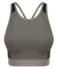 Load image into Gallery viewer, SEAMLESS PANELLED CROP TOP/SPORTS BRA - light grey/black