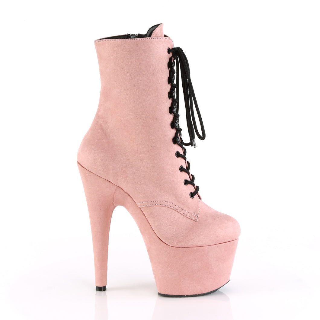 PLEASER - Baby Pink Faux Suede Ankle Boot