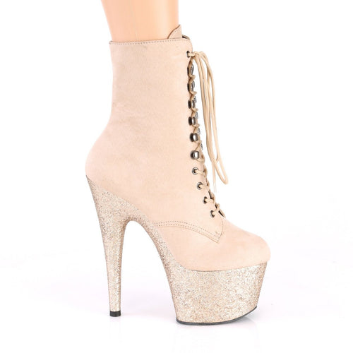PLEASER - Beige Faux Suede Ankle Boot - with Glitter Platform
