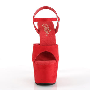 PLEASER - Red Faux Suede Sandal