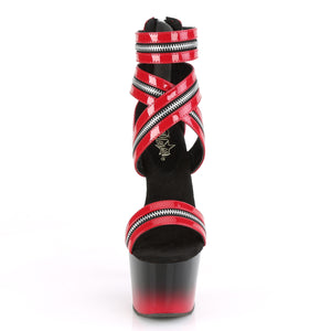 PLEASER - Black & Red Zip Detail Sandal