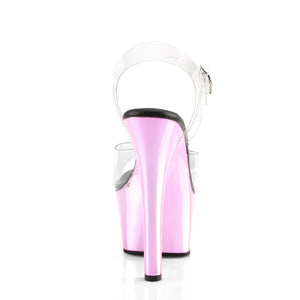 PLEASER - Clear & Pink Ankle Strap Sandal