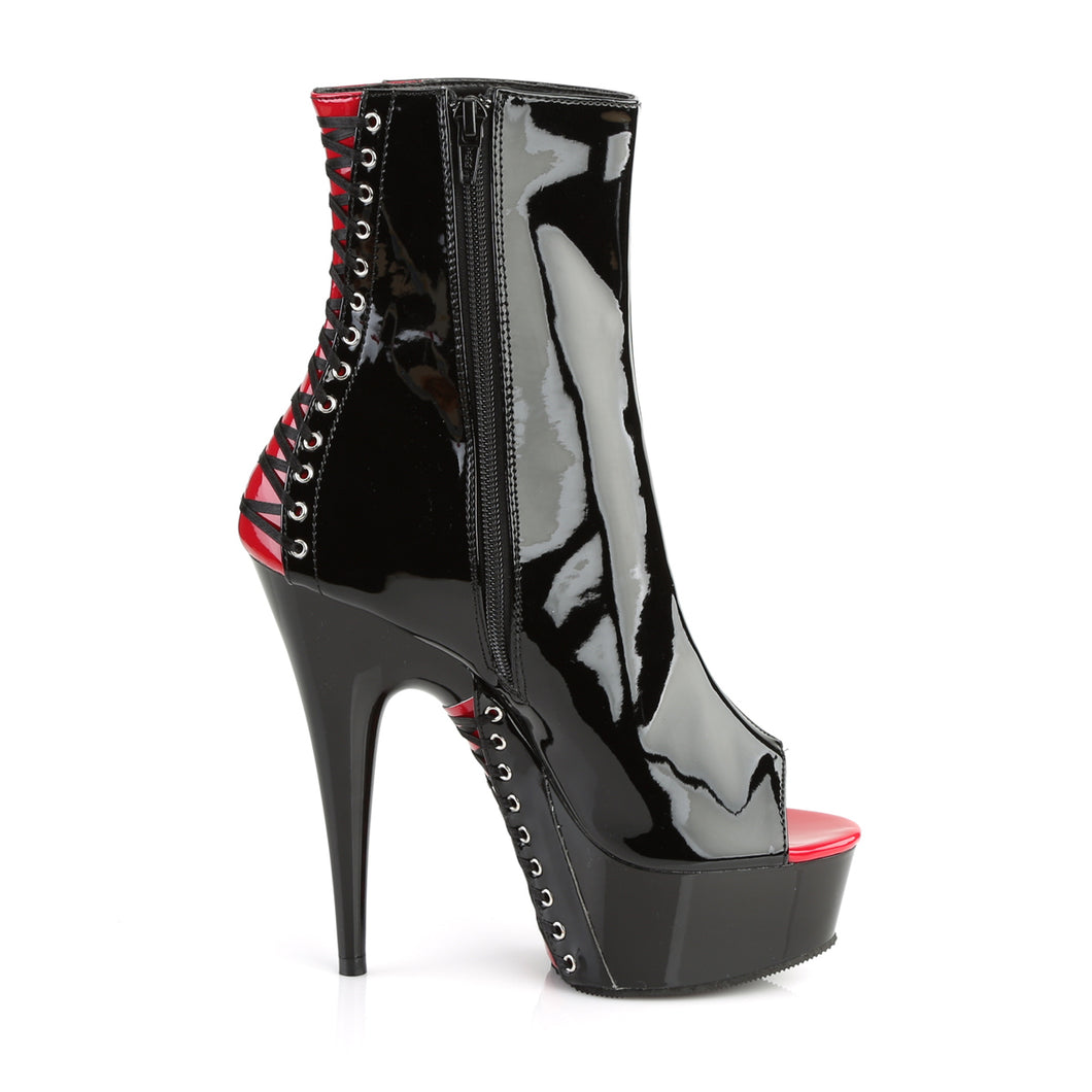 PLEASER - Black & Red Corset Ankle Boot