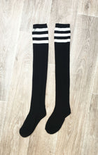 Load image into Gallery viewer, BLACK THIGH HIGH SOCKS WITH WHITE STRIPE