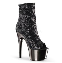 Load image into Gallery viewer, PLEASER - Black Sequin/Dark Pewter Chrome Ankle Boot