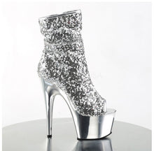 Load image into Gallery viewer, PLEASER - Silver Sequin/Silver Chrome Ankle Boot