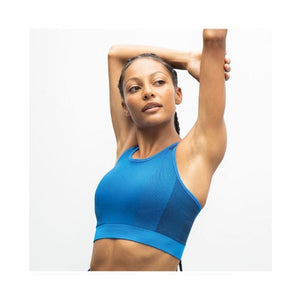 SEAMLESS PANELLED CROP TOP/SPORTS BRA - bright blue/navy