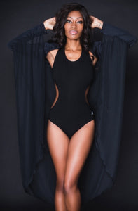BLACK CRISS-CROSS BACKLESS BODYSUIT
