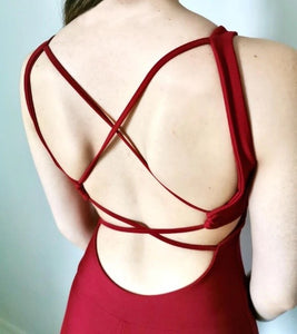 RED 'FIRE' CROSS BACK JUMPSUIT