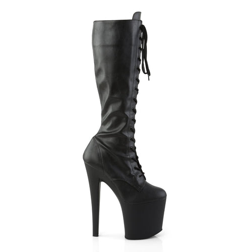 PLEASER - Black Faux Leather Knee High Boot