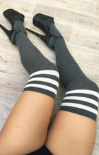 Load image into Gallery viewer, CHARCOAL THIGH HIGH SOCKS WITH WHITE STRIPE