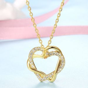 Duo Intertwined Heart Shaped Swarovski Elements Necklace in 14K Gold