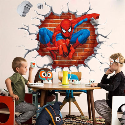 45*50cm Hot 3D Hole Famous Cartoon Movie Spiderman WallStickers For Kids Rooms Boys Gifts Broken Wall Decal Gift Poster